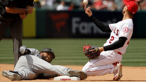 <p>               Los Angeles Angels shortstop Andrelton Simmons, right, tosses the ball after Seattle Mariners' Domingo Santana was tagged out trying to stretch a single into a double during the sixth inning of a baseball game in Anaheim, Calif., Sunday, April 21, 2019. (AP Photo/Chris Carlson)             </p>