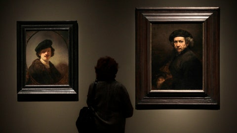 <p>               FILE - In this file photo dated Thursday, Feb. 16, 2012, a visitor views two self portraits by 17th century Dutch master Rembrandt at the Cleveland Museum of Art's 'Rembrandt in America' exhibition in Cleveland, USA.  It is announced Monday April 8, 2019, Dutch soccer teams will be playing with the official soccer ball inscribed with Rembrandt's face and extracts from his work in the Dutch soccer league next season, marking the 350th anniversary of his death.(AP Photo/Amy Sancetta, FILE)             </p>
