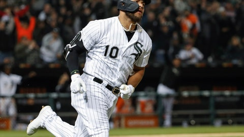 <p>               Chicago White Sox's Yoan Moncada rounds the bases after hitting a solo home run off of Kansas City Royals starting pitcher Jorge Lopez during the fifth inning of a baseball game, Tuesday, April 16, 2019, in Chicago. (AP Photo/Kamil Krzaczynski)             </p>