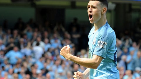 <p>               Manchester City's Phill Foden celebrates his goal against Tottenham during the English Premier League soccer match between Manchester City and Tottenham Hotspur at Etihad stadium in Manchester, England, Saturday, April 20, 2019. (AP Photo/Rui Vieira)             </p>