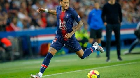 <p>               PSG's Neymar runs with the ball during the French League One soccer match between Paris-Saint-Germain and Monaco at the Parc des Princes stadium in Paris, Sunday April 21, 2019. (AP Photo/Michel Euler)             </p>