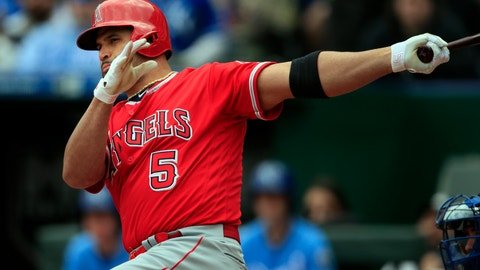 <p>               Los Angeles Angels' Albert Pujols hits a two-run double off Kansas City Royals starting pitcher Homer Bailey during the first inning of a baseball game at Kauffman Stadium in Kansas City, Mo., Sunday, April 28, 2019. (AP Photo/Orlin Wagner)             </p>