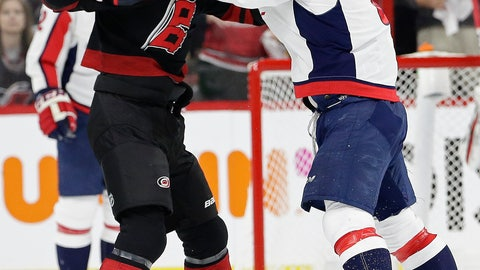 <p>               Washington Capitals' Alex Ovechkin, right, of Russia, punches Carolina Hurricanes' Andrei Svechnikov, also of Russia, during the first period of Game 3 of an NHL hockey first-round playoff series in Raleigh, N.C., Monday, April 15, 2019. (AP Photo/Gerry Broome)             </p>