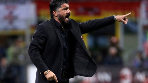 <p>               AC Milan coach Gennaro Gattuso gives directions to his players during the Italian Cup, second leg semifinal soccer match between AC Milan and Lazio, at the San Siro stadium, in Milan, Italy, Wednesday, April 24, 2019. (AP Photo/Luca Bruno)             </p>