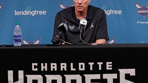 <p>               Charlotte Hornets general manager Mitch Kupchak speaks to the media during a news conference for the NBA basketball team in Charlotte, N.C., Friday, April 12, 2019. (AP Photo/Chuck Burton)             </p>