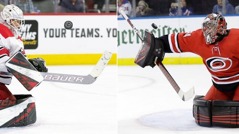 <p>               FILE - At left, in an April 6, 2019, file photo, Carolina Hurricanes' Curtis McElhinney keeps his eyes on the puck after making a save during the second period of the team's NHL hockey game against the Philadelphia Flyers, in Philadelphia. At right, in a Feb. 8, 2019, file photo, Carolina Hurricanes goaltender Petr Mrazek (34) deflects a shot on goal against the New York Rangers during the second period of an NHL hockey game, in New York. The Carolina Hurricanes might face the first goalie dilemma of these playoffs. Which one gives them the best chance to take a 3-0 series lead against the Islanders _ a healthy and rested Curtis McElhinney, or a day-to-day Petr Mrazek ? (AP Photo/File)             </p>