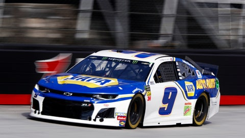 <p>               Driver Chase Elliott (9) makes his way down the back stretch during practice for a NASCAR Cup Series auto race, Saturday, April 6, 2019, in Bristol, Tenn. (AP Photo/Wade Payne)             </p>