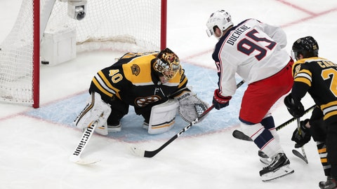 <p>               Columbus Blue Jackets center Matt Duchene (95) shoots the game-wining goal past Boston Bruins goaltender Tuukka Rask (40) during double overtime of Game 2 of an NHL hockey second-round playoff series, early Sunday, April 28, 2019, in Boston. The Blue Jackets won 3-2. (AP Photo/Charles Krupa)             </p>