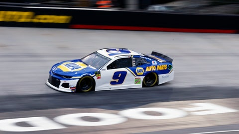 <p>               Chase Elliott (9) drives during qualifying for a NASCAR Cup Series auto race, Friday, April 5, 2019, in Bristol, Tenn. Elliott will start on the pole for the race Sunday. (AP Photo/Wade Payne)             </p>