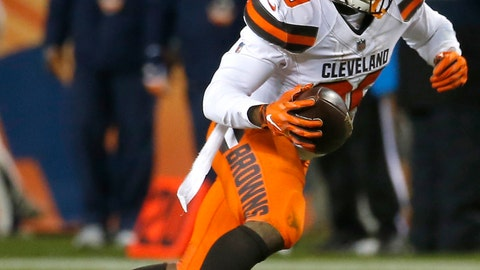 <p>               FILE - In this Dec. 15, 2018, file photo, Cleveland Browns running back Duke Johnson (29) runs during the first half of an NFL football game against the Denver Broncos, in Denver. Browns general manager John Dorsey says he's in no rush to trade running back Duke Johnson, who has asked to be moved. During his pre-draft news conference Wednesday, April 17, 2019, Dorsey said Johnson has not reported for the Browns' voluntary offseason workout program, which began on April 1.(AP Photo/Rick Scuteri, File)             </p>