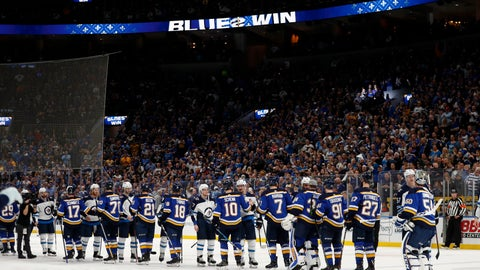 <p>               Members of the St. Louis Blues and the Winnipeg Jets shake hands following Game 6 of an NHL first-round hockey playoff series, Saturday, April 20, 2019, in St. Louis. (AP Photo/Jeff Roberson)             </p>
