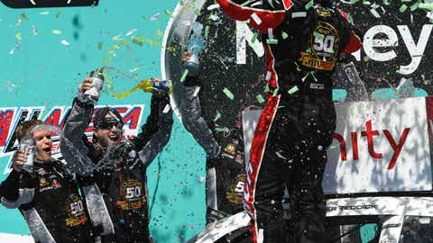 <p>               CORRECTS TO REDDICK NOT REDDCIK - Tyler Reddick, right, celebrates in Victory Lane after winning a NASCAR Xfinity Series auto race at Talladega Superspeedway in Talladega, Ala., Saturday, April 27, 2019. (AP Photo/Julie Bennett)             </p>