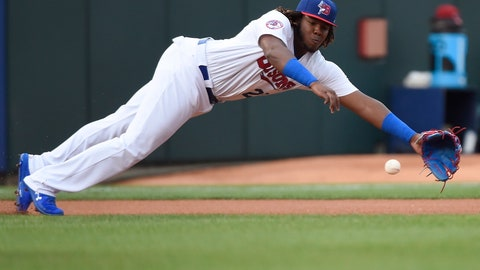 <p>               In this Tuesday, July 31, 2018, photo, Buffalo Bisons third baseman Vladimir Guerrero Jr. dives for the ball on a single by Lehigh Valley IronPigs' Aaron Altherr during first inning of a Triple-A minor league baseball game in Buffalo, N.Y. The Toronto Blue Jays will promote top prospect Vladimir Guerrero Jr. before their game against the Oakland Athletics, on Friday, April 26. (Nathan Denette/The Canadian Press via AP)             </p>