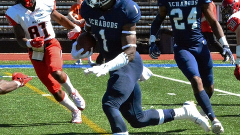 <p>               In this Sept. 22, 2018 photo, Washburn defensive back Corey Ballentine carries the ball during an NCAA college football game in Topeka, Kan. Police in Kansas are investigating a shooting that killed one current Washburn University football player and injured a former player just hours after he was drafted by the New York Giants. Topeka police say officers found 23-year-old defensive back Dwane Simmons dead when they investigated gunshots shortly before 1 a.m. Sunday, April 28, 2019. Ballentine is the wounded player who was picked by the Giants in the sixth round of the NFL draft Saturday. (Phil Anderson/Topeka Capital-Journal via AP)             </p>