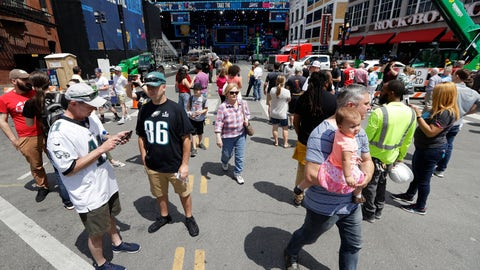 <p>               Onlookers watch the progress of the NFL stage being built ahead of the first-round NFL Draft, Wednesday, April 24, 2019, in Nashville, Tenn. The football draft is scheduled to run Thursday through Saturday. (AP Photo/Mark Humphrey)             </p>