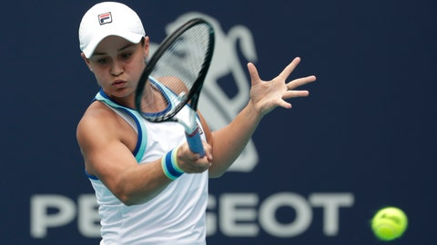<p>               FILE - In this file photo dated Saturday, March 30, 2019, Ashleigh Barty of Australia, returns to Carolina Pliskova of the Czech Republic, during the singles final of the Miami Open tennis tournament, in Miami Gardens, Fla.   Barty beat doubles partner Victoria Azarenka of Belarus 7-6 (2), 6-3 to level their Fed Cup semifinal at 1-1, at Pat Rafter Arena, Australia, on Saturday April 20, 2019. (AP Photo/Lynne Sladky, FILE)             </p>