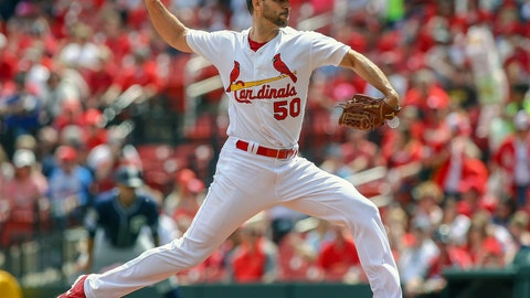 <p>               St. Louis Cardinals starting pitcher Adam Wainwright (50) pitches during the first inning of a baseball game against the San Diego Padres Sunday, April 7, 2019, in St. Louis. (AP Photo/Scott Kane)             </p>