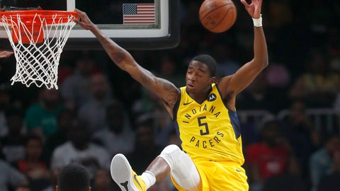 <p>               Indiana Pacers guard Edmond Sumner (5) misses a dunk in the first half of an NBA basketball game against the Atlanta Hawks Wednesday, April 10, 2019, in Atlanta. (AP Photo/John Bazemore)             </p>