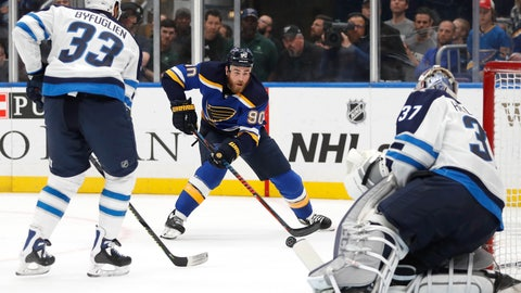 <p>               St. Louis Blues center Ryan O'Reilly (90) closes in on the net as Winnipeg Jets defenseman Dustin Byfuglien (33) and goaltender Connor Hellebuyck (37) watch during the second period in Game 4 of an NHL first-round hockey playoff series, Tuesday, April 16, 2019, in St. Louis. (AP Photo/Jeff Roberson)             </p>