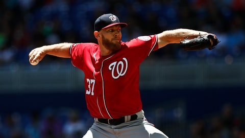 <p>               Washington Nationals starting pitcher Stephen Strasburg  delivers during the first inning of a baseball game against the Miami Marlins on Sunday, April 21, 2019, in Miami. (AP Photo/Brynn Anderson)             </p>