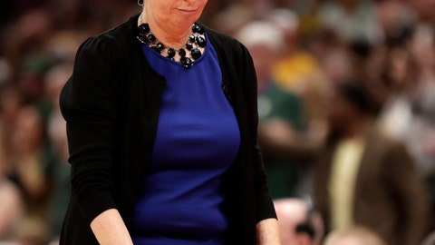 <p>               Notre Dame coach Muffet McGraw walks back to the bench during the second half against Baylor in the Final Four championship game of the NCAA women's college basketball tournament Sunday, April 7, 2019, in Tampa, Fla. Baylor won 82-81. (AP Photo/John Raoux)             </p>