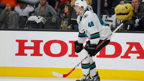 <p>               San Jose Sharks center Tomas Hertl (48) celebrates after scoring against the Vegas Golden Knights to win the game during the second overtime in Game 6 of a first-round NHL hockey playoff series Sunday, April 21, 2019, in Las Vegas. (AP Photo/John Locher)             </p>