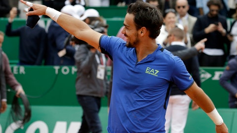 <p>               Italy's Fabio Fognini celebrates after defeating Serbia's Dusan Lajovic in the men's singles final match of the Monte Carlo Tennis Masters tournament in Monaco, Sunday, April, 21, 2019. (AP Photo/Claude Paris)             </p>