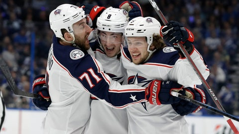 <p>               Columbus Blue Jackets defenseman Zach Werenski (8) celebrates his goal against the Tampa Bay Lightning with left wing Nick Foligno (71) and left wing Artemi Panarin (9) during the first period of Game 2 of an NHL Eastern Conference first-round hockey playoff series Friday, April 12, 2019, in Tampa, Fla. (AP Photo/Chris O'Meara)             </p>