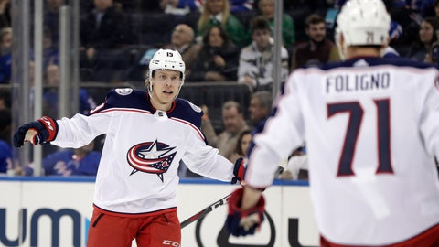 <p>               Columbus Blue Jackets center Ryan Dzingel, left, reacts with left wing Nick Foligno (71) after scoring a goal against the New York Rangers during the third period of an NHL hockey game, Friday, April 5, 2019, in New York. The Blue Jackets won 3-2 in a shootout. (AP Photo/Julio Cortez)             </p>