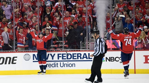 <p>               Washington Capitals center Nicklas Backstrom, left of Sweden, celebrates his goal with defenseman John Carlson (74) during the first period of Game 1 of an NHL hockey first-round playoff series against the Carolina Hurricanes, Thursday, April 11, 2019, in Washington. (AP Photo/Nick Wass)             </p>