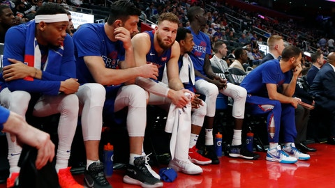 <p>               Detroit Pistons forward Blake Griffin, third from left, sits on the bench after fouling out during the second half of Game 4 of a first-round NBA basketball playoff series against the Milwaukee Bucks, Monday, April 22, 2019, in Detroit. (AP Photo/Carlos Osorio)             </p>