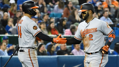 <p>               Baltimore Orioles shortstop Jonathan Villar (2) celebrates with teammate Rio Ruiz (14) after scoring a run against the Toronto Blue Jays during sixth inning of a baseball game in Toronto on Tuesday, April 2, 2019. (Nathan Denette/The Canadian Press via AP)             </p>