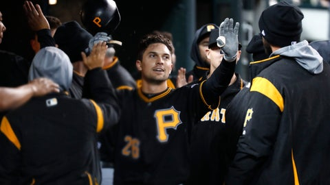 <p>               Pittsburgh Pirates' Adam Frazier celebrates scoring on a Colin Moran single in the 10th inning of a baseball game against the Detroit Tigers in Detroit, Wednesday, April 17, 2019. (AP Photo/Paul Sancya)             </p>