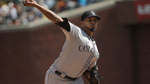 <p>               Colorado Rockies pitcher German Marquez throws against the San Francisco Giants during the third inning of a baseball game in San Francisco, Sunday, April 14, 2019. (AP Photo/Jeff Chiu)             </p>