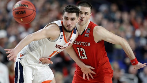 <p>               Virginia guard Ty Jerome fights for a loose ball with Texas Tech guard Matt Mooney, right, during the second half in the championship game of the Final Four NCAA college basketball tournament, Monday, April 8, 2019, in Minneapolis. (AP Photo/Jeff Roberson)             </p>