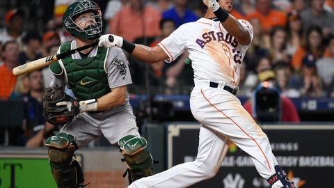 <p>               Houston Astros' Michael Brantley watches his two-run home run off Oakland Athletics starting pitcher Aaron Brooks during the fifth inning of a baseball game, Saturday, April 6, 2019, in Houston. (AP Photo/Eric Christian Smith)             </p>