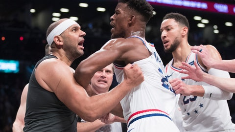 <p>               CORRECTS TO SECOND HALF NOT FIRST HALF - Brooklyn Nets forward Jared Dudley, left, and Philadelphia 76ers guard Jimmy Butler (23) get into a shoving match during the second half of Game 4 of a first-round NBA basketball playoff series, Saturday, April 20, 2019, in New York. (AP Photo/Mary Altaffer)             </p>