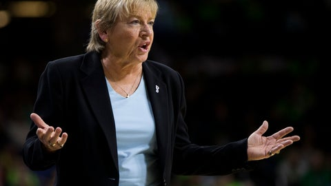"""<p>               FILE - In this Feb. 1, 2018, file photo, North Carolina coach Sylvia Hatchell questions a call during the second half of the team's NCAA college basketball game against Notre Dame in South Bend, Ind. Hatchell has resigned after an external review found she had made """"racially insensitive"""" comments and applied """"undue influence"""" regarding players' ability to compete through medical issues. The school issued a release late Thursday, April 18, 2019, announcing the Hall of Famer's resignation and findings from the review by a Charlotte-based law firm. The review also reported """"a breakdown of connectivity between the players and Hatchell"""" after 28 interviews of current players and program personnel. (AP Photo/Robert Franklin, File)             </p>"""