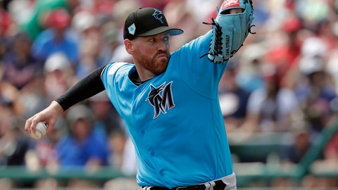 <p>               FILE - In this March 3, 2019, file photo, Miami Marlins pitcher Dan Straily throws to an Atlanta Braves batter during the first inning of a spring training baseball game in Kissimmee, Fla. Seeking to boost a thin starting rotation, the Baltimore Orioles agreed to a $575,000, one-year contact with Straily. The 30-year old right-hander's deal was announced Friday, April 5. He would get a $250,000 assignment bonus if traded. (AP Photo/John Raoux, File)             </p>