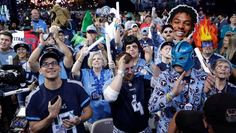 <p>               Fans watch the action on the main stage during the first round at the NFL football draft, Thursday, April 25, 2019, in Nashville, Tenn. (AP Photo/Mark Humphrey)             </p>