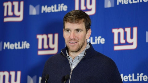 <p>               FILE - In this Dec. 31, 2017, file photo, New York Giants quarterback Eli Manning speaks during a news conference after an NFL football game against the Washington Redskins, in East Rutherford, N.J. The New York Giants kept two-time Super Bowl MVP Eli Manning in the dark until recently about his future with the team, and didn't give him a warning about the trade of star receiver Odell Beckham Jr. to the Cleveland Browns. Speaking as organized team activities started Monday, April 15, 2019, the 38-year-old quarterback said the Giants informed him a month ago that he would be returning for a 16th season. (AP Photo/Bill Kostroun)             </p>