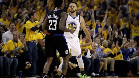 <p>               Golden State Warriors' Stephen Curry, right, celebrates a score while guarding Los Angeles Clippers' Lou Williams (23) in the first half in Game 1 of a first-round NBA basketball playoff series Saturday, April 13, 2019, in Oakland, Calif. (AP Photo/Ben Margot)             </p>