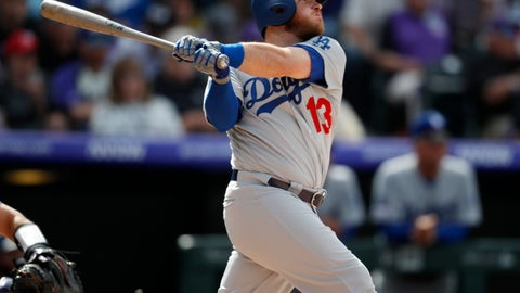 <p>               Los Angeles Dodgers' Max Muncy follows the flight of his solo home run off Colorado Rockies starting pitcher Tyler Anderson in the fourth inning of a baseball game Friday, April 5, 2019, in Denver. (AP Photo/David Zalubowski)             </p>