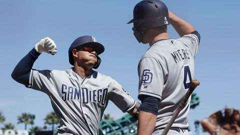 <p>               San Diego Padres' Manny Machado, left, is congratulated by Wil Myers after hitting a solo home run against the San Francisco Giants during the sixth inning of a baseball game in San Francisco, Wednesday, April 10, 2019. (AP Photo/Jeff Chiu)             </p>
