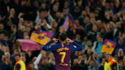 <p>               Barcelona forward Philippe Coutinho gestures after scoring his side's third goal during the Champions League quarterfinal, second leg, soccer match between FC Barcelona and Manchester United at the Camp Nou stadium in Barcelona, Spain, Tuesday, April 16, 2019. (AP Photo/Joan Monfort)             </p>