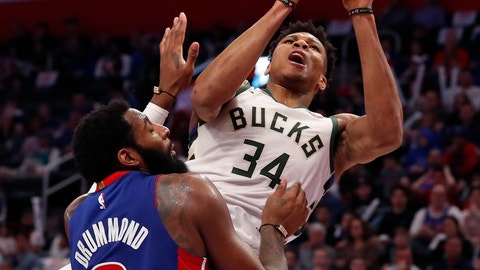 <p>               Milwaukee Bucks forward Giannis Antetokounmpo (34) is fouled by Detroit Pistons center Andre Drummond (0) during the first half of Game 4 of a first-round NBA basketball playoff series, Monday, April 22, 2019, in Detroit. (AP Photo/Carlos Osorio)             </p>