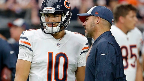 <p>               FILE - In this Sept. 23, 2018, file photo, Chicago Bears quarterback Mitchell Trubisky (10) talks with Bears head coach Matt Nagy, right, prior to an NFL football game against the Arizona Cardinals in Glendale, Ariz. The Bears are eyeing the draft from a different perch. A worst-to-first jump last season left them staring down at the rest of the NFC North, armed and loaded with one of the league's best defenses and banking on a more creative offense led by Trubisky to improve in Nagy's second season. (AP Photo/Rick Scuteri, File)             </p>