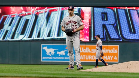 <p>               Houston Astros pitcher Justin Verlander  (35) reacts after giving up a solo home run to Minnesota Twins' Ehire Adrianza in the third inning of a baseball game Monday, April 29, 2019, in Minneapolis. (AP Photo/Jim Mone)             </p>