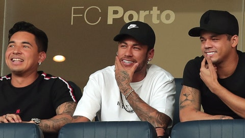 <p>               Brazilian player Neymar, center, watches the friendly soccer match between Brazil and Panama at the Dragao stadium in Porto, Portugal, Saturday, March 23, 2019. (AP Photo/Luis Vieira)             </p>
