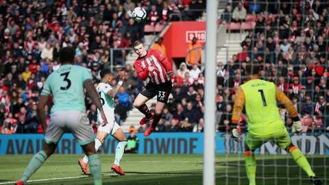 <p>               Southampton's Matt Targett, center, scores his side's third goal of the game during their English Premier League soccer match against Bournemouth at St Mary's Stadium, Southampton, England, Saturday, April 27, 2019. (Adam Davy/PA via AP)             </p>